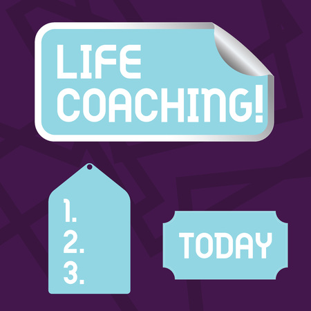 Text sign showing Life Coaching. Business photo showcasing demonstrating employed to help showing attain their goals in career Blank Color Label, Self Adhesive Sticker with Border, Bended Corner and Tag