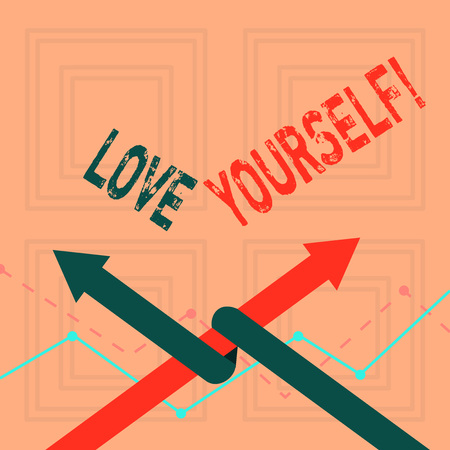 Writing note showing Love Yourself. Business concept for have self respect positive image and unconditional acceptance Two Arrows One Intertwined to Other Team Up or Competition