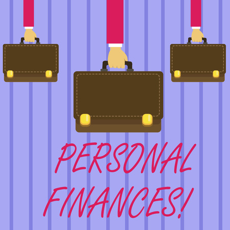 Writing note showing Personal Finances. Business concept for analysisagement of money and financial decisions for demonstrating Hands Carrying Brown Briefcase with Running Style and Lock
