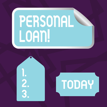Text sign showing Personal Loan. Business photo showcasing taking money bank helps you meet your current financial needs Blank Color Label, Self Adhesive Sticker with Border, Bended Corner and Tag 免版税图像