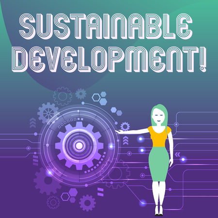 Word writing text Sustainable Development. Business photo showcasing developing without depletion of natural resources Woman Standing and Presenting the SEO Process with Cog Wheel Gear inside