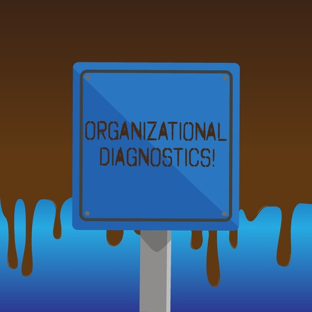 Text sign showing Organizational Diagnostics. Business photo showcasing effective ways determine gaps in perforanalysisce 3D Square Blank Colorful Caution Road Sign with Black Border Mounted on Wood Stock Photo