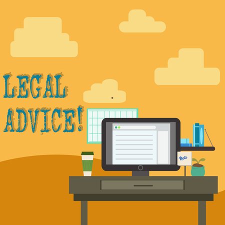 Conceptual hand writing showing Legal Advice. Concept meaning professional advices that is provided by professional lawyer photo of Interior Working Space Station Technical Person