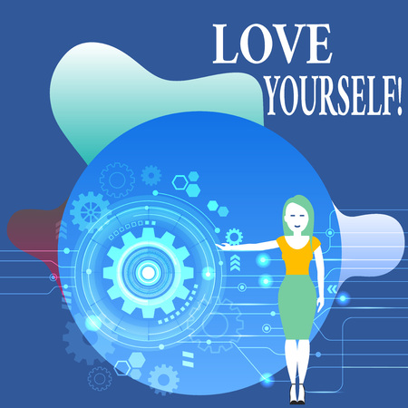 Writing note showing Love Yourself. Business concept for have self respect positive image and unconditional acceptance Woman Presenting the SEO Process with Cog Wheel Gear inside Stock Photo