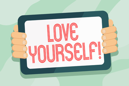 Handwriting text Love Yourself. Conceptual photo have self respect positive image and unconditional acceptance Color Tablet Smartphone with Blank Screen Handheld from the Back of Gadget