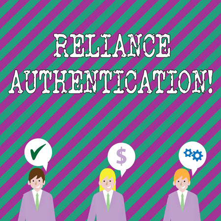 Text sign showing Reliance Authentication. Business photo showcasing part of trust based identity attribution process Businessmen Each has their Own Speech Bubble with Optimization Cost Icons