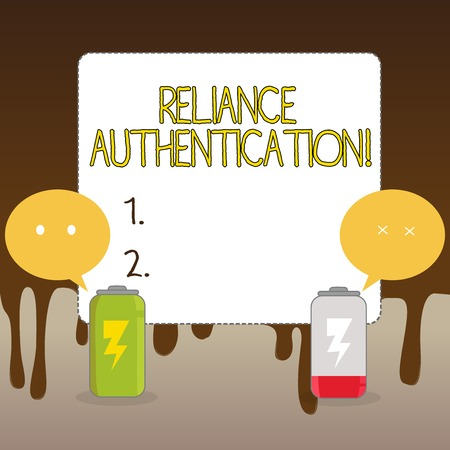 Handwriting text Reliance Authentication. Conceptual photo part of trust based identity attribution process Fully Charged and Discharged Battery with Two Colorful Emoji Speech Bubble
