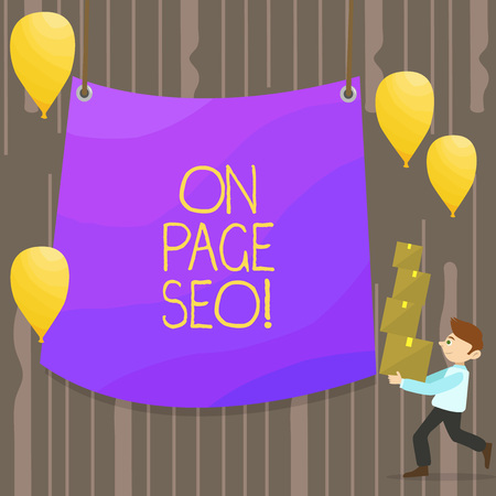 Handwriting text On Page Seo. Conceptual photo measures taken within website improve position search rankings Man Carrying Pile of Boxes with Blank Tarpaulin in the Center and Balloons