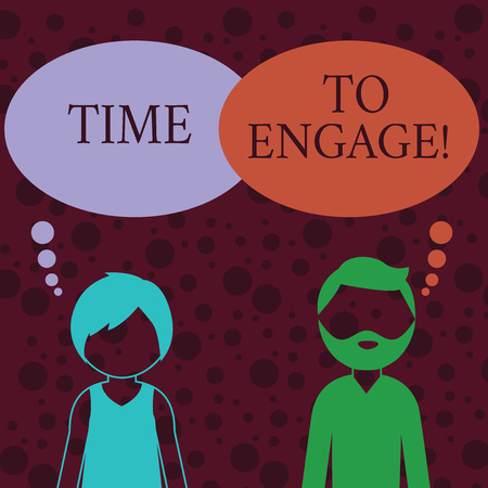 Conceptual hand writing showing Time To Engage. Concept meaning tutor who is fully occupied or having your full attention Bearded Man and Woman with the Blank Colorful Thought Bubble