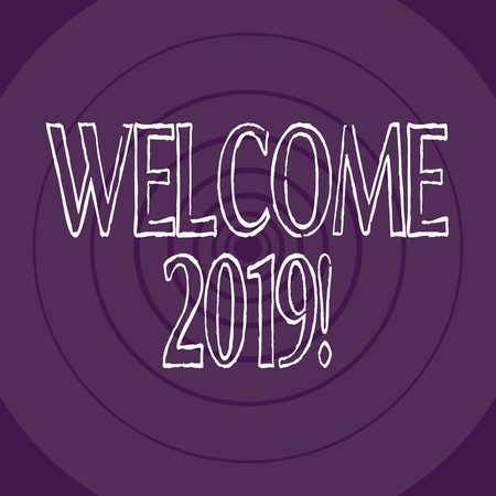 Word writing text Welcome 2019. Business photo showcasing instance or analysisners of greeting someone like new year Concentric Circle Pattern Round Shape in Violet Monochrome with Perspective
