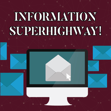 Text sign showing Information Superhighway. Business photo text Internet type network computers connect individuals Open Color Envelope inside Computer Screen. Letter Casing Surrounds the PC