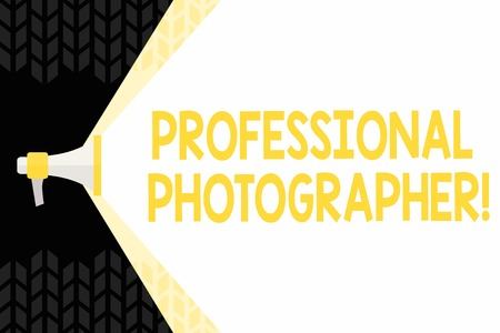 Text sign showing Professional Photographer. Business photo showcasing demonstrating who takes photographs especially as job Megaphone Extending the Capacity of Volume Range thru Blank Space Wide Beam