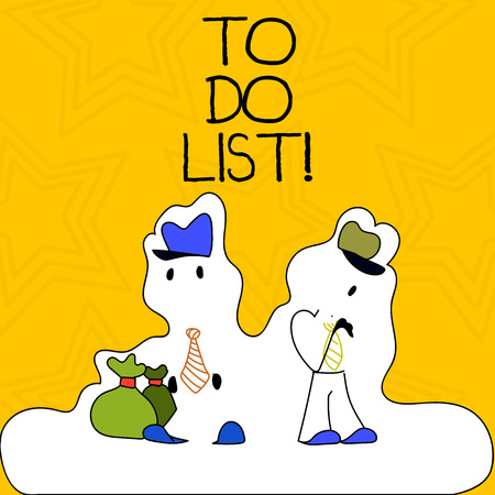 Word writing text To Do List. Business photo showcasing tasks that need to be completed organized in order priority Figure of Two Men Standing with Pouch Bag on White Sticker Style Snow Effect Фото со стока - 120210015