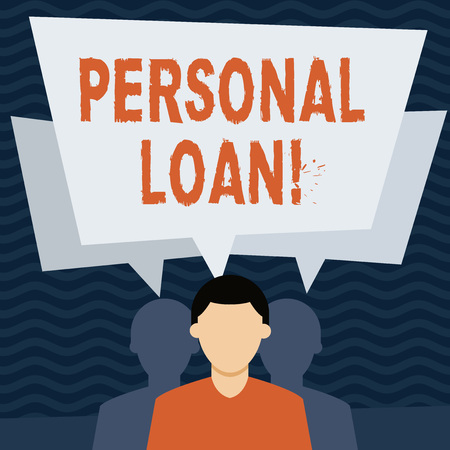 Handwriting text Personal Loan. Conceptual photo taking money bank helps you meet your current financial needs Faceless Man has Two Shadows Each has Their Own Speech Bubble Overlapping