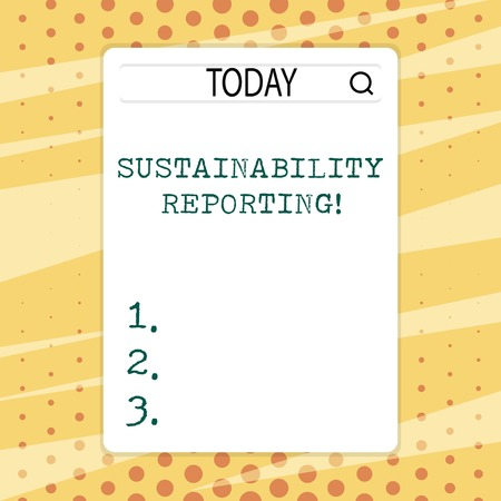 Handwriting text writing Sustainability Reporting. Conceptual photo give information economic environmental perforanalysisce Search Bar with Magnifying Glass Icon photo on Blank Vertical White Screen 免版税图像