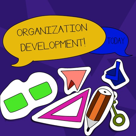 Word writing text Organization Development. Business photo showcasing technique for bringing change entire aspect company Two Blank Colorful Speech Balloon and Different Labels Sticker Style Icons