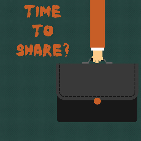 Writing note showing Time To Share Question. Business concept for you stay with friends family sharing precious moments Businessman Carrying Colorful Briefcase Portfolio Applique