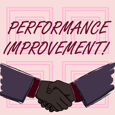 Conceptual hand writing showing Perforanalysisce Improvement. Concept meaning Improve Productivity Enhance Quality input Time Businessmen Shaking Hands Form of Greeting and Agreement