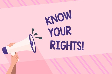Text sign showing Know Your Rights. Business photo text must have knowledge about what you owe to community Human Hand Holding Tightly a Megaphone with Sound Icon and Blank Text Space