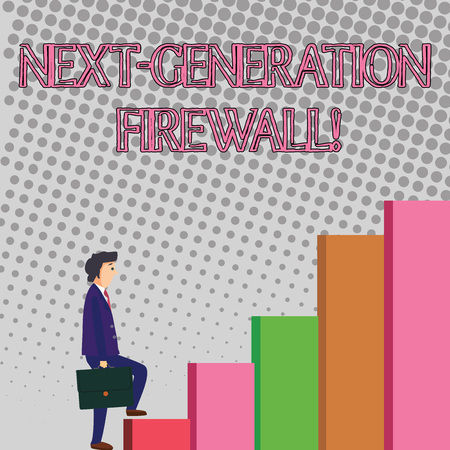 Text sign showing Next Generation Firewall. Business photo showcasing combining firewall with other network filtering Businessman Carrying a Briefcase is in Pensive Expression while Climbing Up