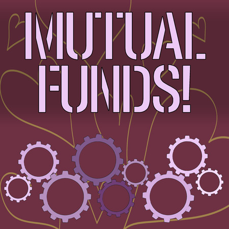 Word writing text Mutual Funds. Business photo showcasing investment funded shareholders trades in diversified holdings Colorful Cog Wheel Gear Engaging, Interlocking and Tesselating Flat Style 免版税图像