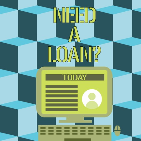 Conceptual hand writing showing Need A Loan Question. Concept meaning asking if need amount of money borrowed often from bank Computer Mounted on Stand with Online Profile Data on Screen Imagens