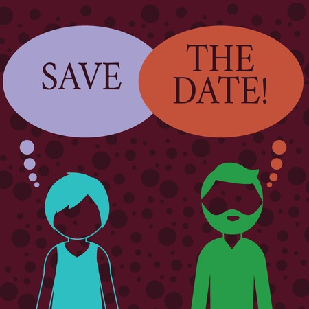 Conceptual hand writing showing Save The Date. Concept meaning asking someone to remember specific important day or time Bearded Man and Woman with the Blank Colorful Thought Bubble 스톡 콘텐츠