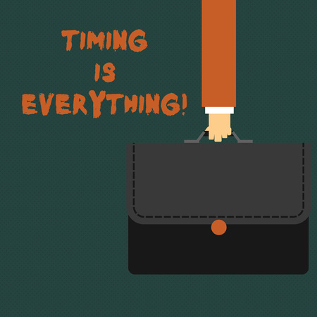 Writing note showing Timing Is Everything. Business concept for Consideration events can influence some desired outcome Businessman Carrying Colorful Briefcase Portfolio Applique