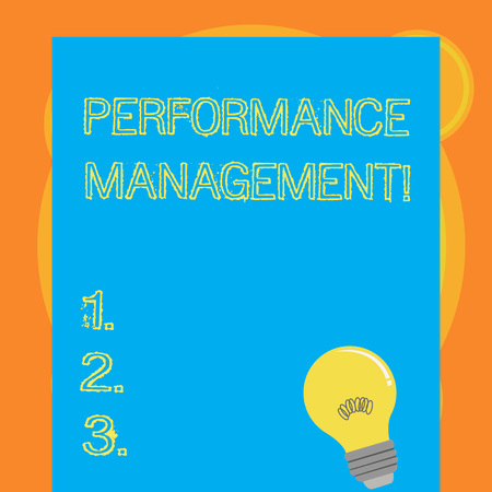 Writing note showing Perforanalysisce Management. Business concept for analysisaging Productivity Enhance Quality input Time Light Bulb with Filament Inside Resting on Blank Color Paper
