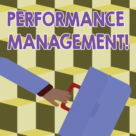 Conceptual hand writing showing Perforanalysisce Management. Concept meaning analysisaging Productivity Enhance Quality input Time Rushing Businessman Swayed Back and Holding Briefcase