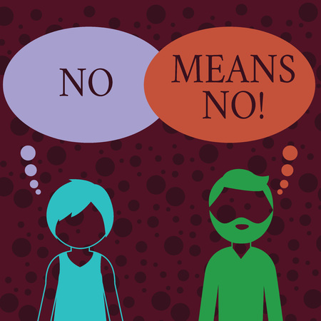 Conceptual hand writing showing No Means No. Concept meaning when you are answering demonstrating with complete denying something Bearded Man and Woman with the Blank Colorful Thought Bubble Stockfoto