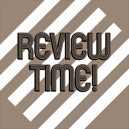Conceptual hand writing showing Review Time. Concept meaning survey over whole subject or division it Summary of something White and Brown Stripes Alternately on Chocolate Background