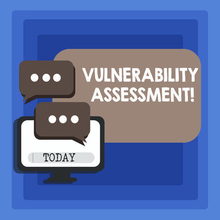 Handwriting text writing Vulnerability Assessment. Conceptual photo defining identifying prioritizing vulnerabilities Blank Computer Monitor and Two Speech Balloon with Three Dots for Chat Icon