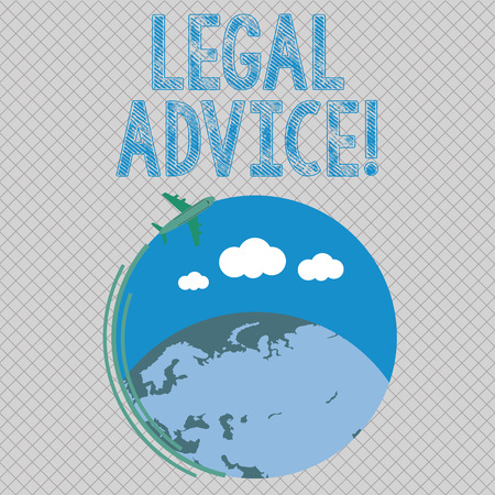Conceptual hand writing showing Legal Advice. Concept meaning professional advices that is provided by professional lawyer Airplane Flying Around Colorful Globe and Blank Text Space 版權商用圖片