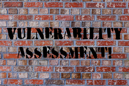 Text sign showing Vulnerability Assessment. Business photo text defining identifying prioritizing vulnerabilities Brick Wall art like Graffiti motivational call written on the wall Banque d'images
