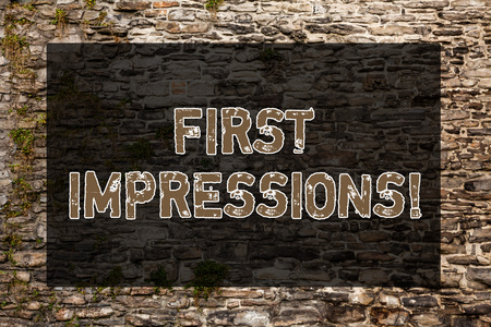 Handwriting text writing First Impressions. Conceptual photo idea feeling or opinion about something or someone Brick Wall art like Graffiti motivational call written on the wall