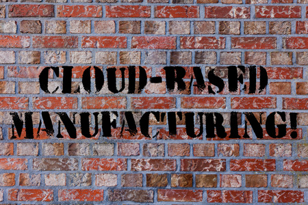 Text sign showing Cloud Based Manufacturing. Business photo text paradigm developed from existing advanced models Brick Wall art like Graffiti motivational call written on the wall Stock Photo
