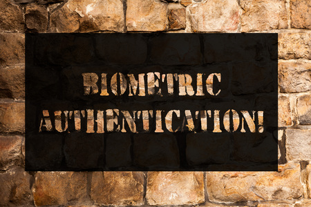 Conceptual hand writing showing Biometric Authentication. Concept meaning identity verification involves biological input Brick Wall art like Graffiti motivational call written on the wall