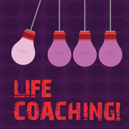 Conceptual hand writing showing Life Coaching. Concept meaning demonstrating employed to help showing attain their goals in career Color Pendant Bulb Hanging with One Different Shade Lightbulb Stock Photo