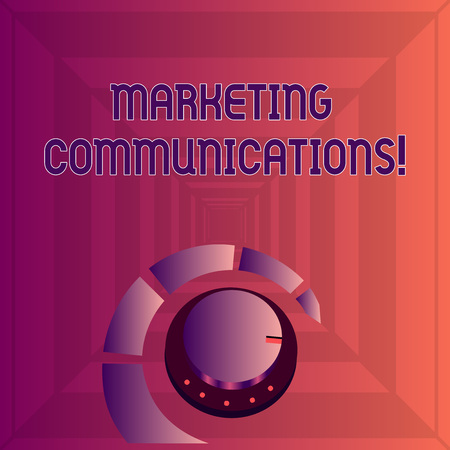 Writing note showing Marketing Communications. Business concept for Advertising Personal Selling and Sales Promotion Volume Control Knob with Marker Line and Loudness Indicator