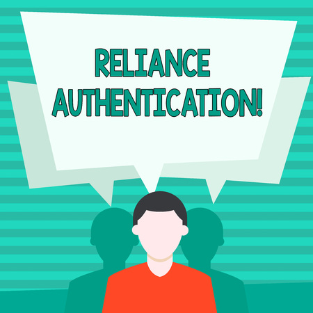 Conceptual hand writing showing Reliance Authentication. Concept meaning part of trust based identity attribution process Faceless Man has Two Shadows with Speech Bubble Overlapping 版權商用圖片