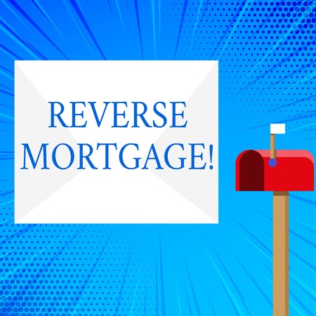 Handwriting text Reverse Mortgage. Conceptual photo financial agreement which homeowner relinquishes equity Blank Big White Envelope and Open Red Mailbox with Small Flag Up Signalling Stock Photo