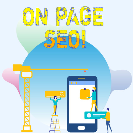 Conceptual hand writing showing On Page Seo. Concept meaning measures taken within website improve position search rankings Staff Working Together Target Goal with SEO Process Icons