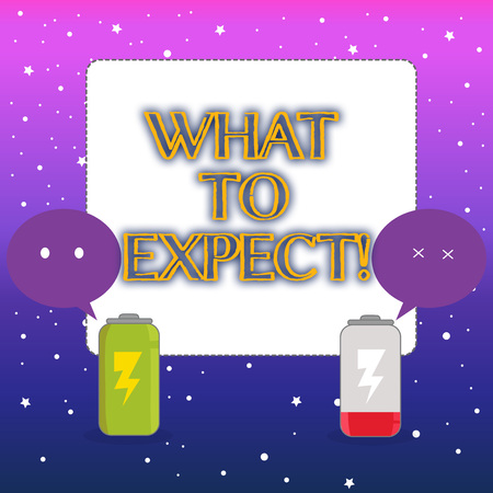 Word writing text What To Expect. Business photo showcasing asking about regard something as likely to happen occur Fully Charged and Discharged Battery with Two Colorful Emoji Speech Bubble