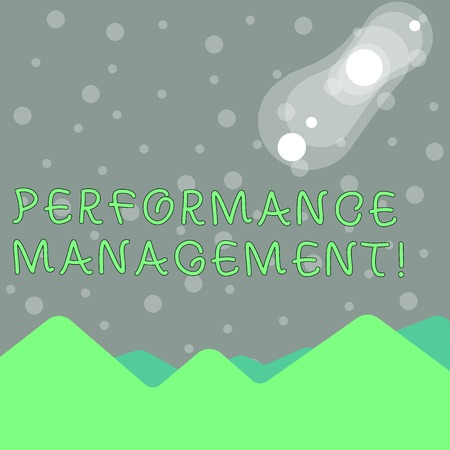 Handwriting text writing Performance Management. Conceptual photo analysis Productivity Enhance Quality input Time View of Colorful Mountains and Hills with Lunar and Solar Eclipse Happening