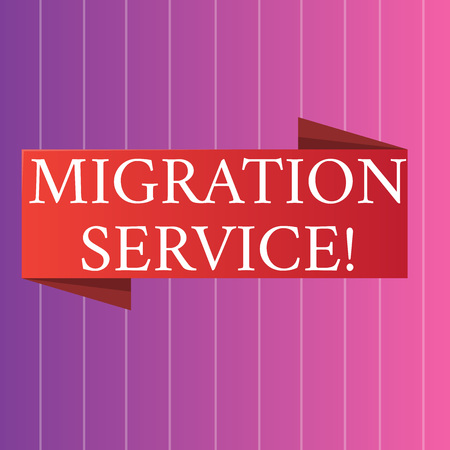 Word writing text Migration Service. Business photo showcasing shift different cloud vendors without implementation Blank Folded Color Banner photo on Vertically Striped Two Toned Backdrop