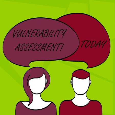 Writing note showing Vulnerability Assessment. Business concept for defining identifying prioritizing vulnerabilities Faces of Male and Female Colorful Speech Bubble Overlaying Stock Photo