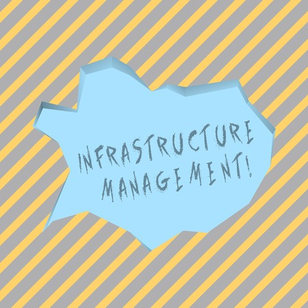 Text sign showing Infrastructure Analysisagement. Business photo text basic physical and organizational structures Blank Pale Blue Speech Bubble in Irregular Cut Edge Shape 3D Style Backdrop