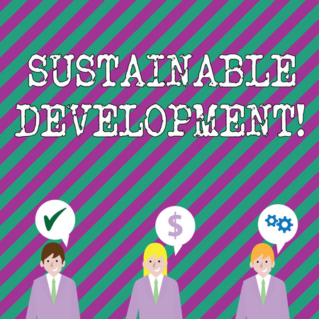 Text sign showing Sustainable Development. Business photo showcasing developing without depletion of natural resources Businessmen Each has their Own Speech Bubble with Optimization Cost Icons Фото со стока
