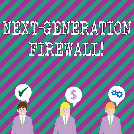 Text sign showing Next Generation Firewall. Business photo showcasing combining firewall with other network filtering Businessmen Each has their Own Speech Bubble with Optimization Cost Icons Stock Photo